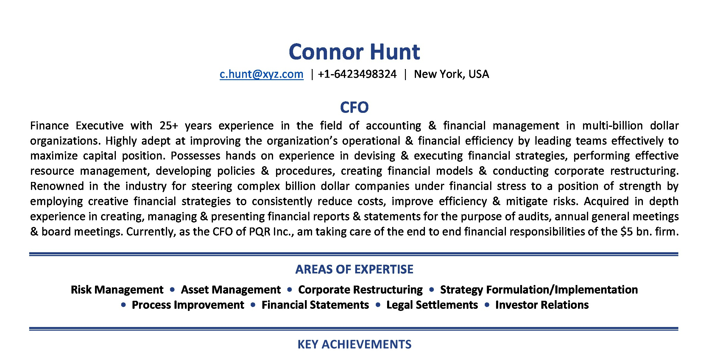 Sample CV - CFO