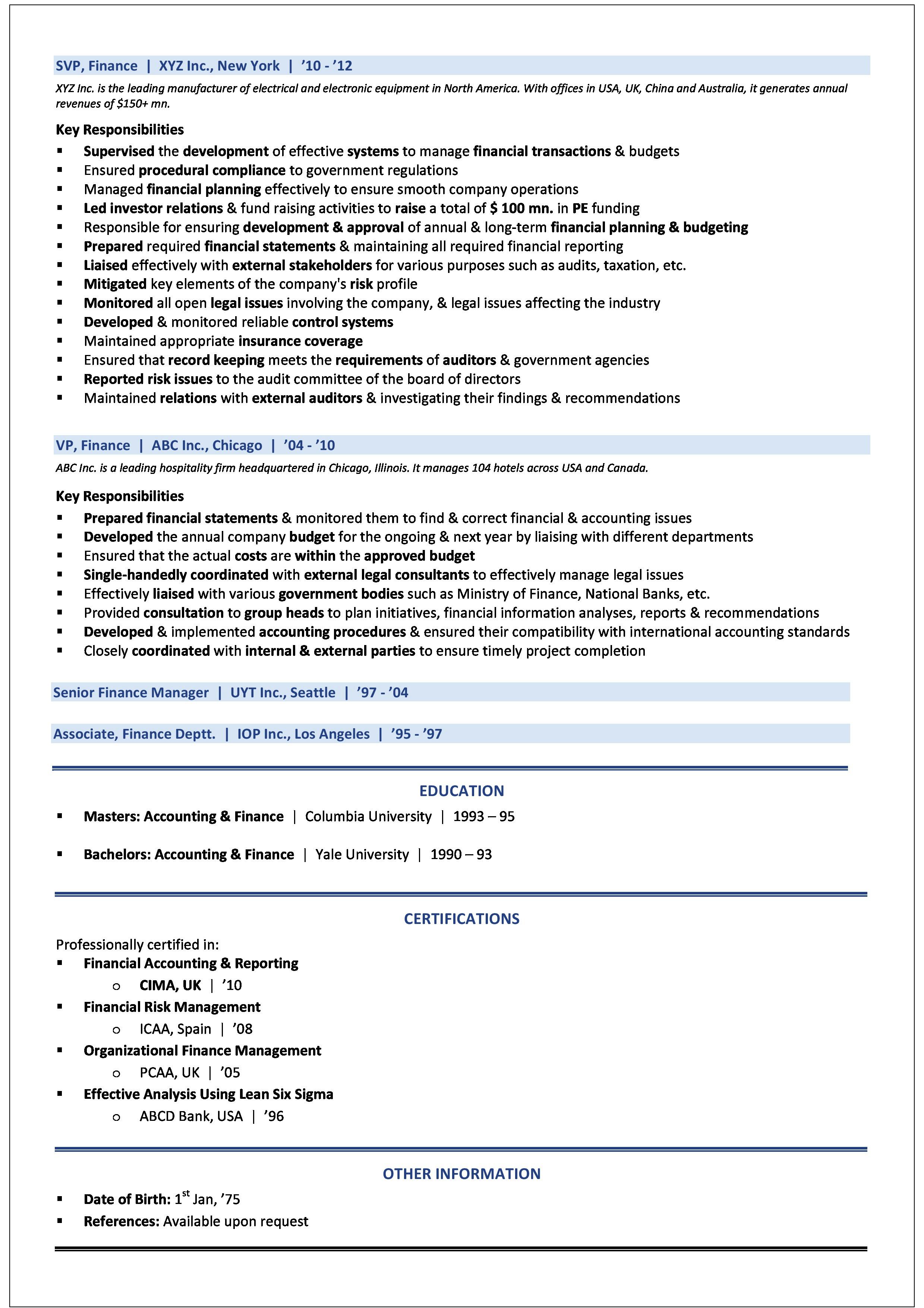Sample CV - CFO - 2