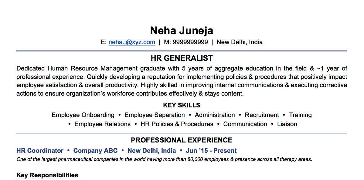 Sample CV:  HR Generalist