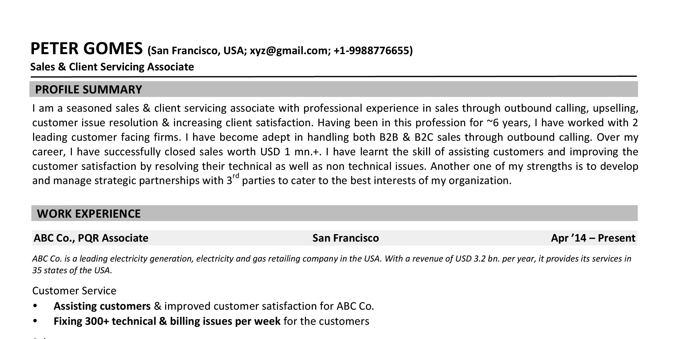 Sample CV:  Sales & Service Associate