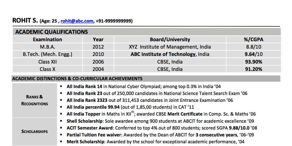 Sample CV: Student