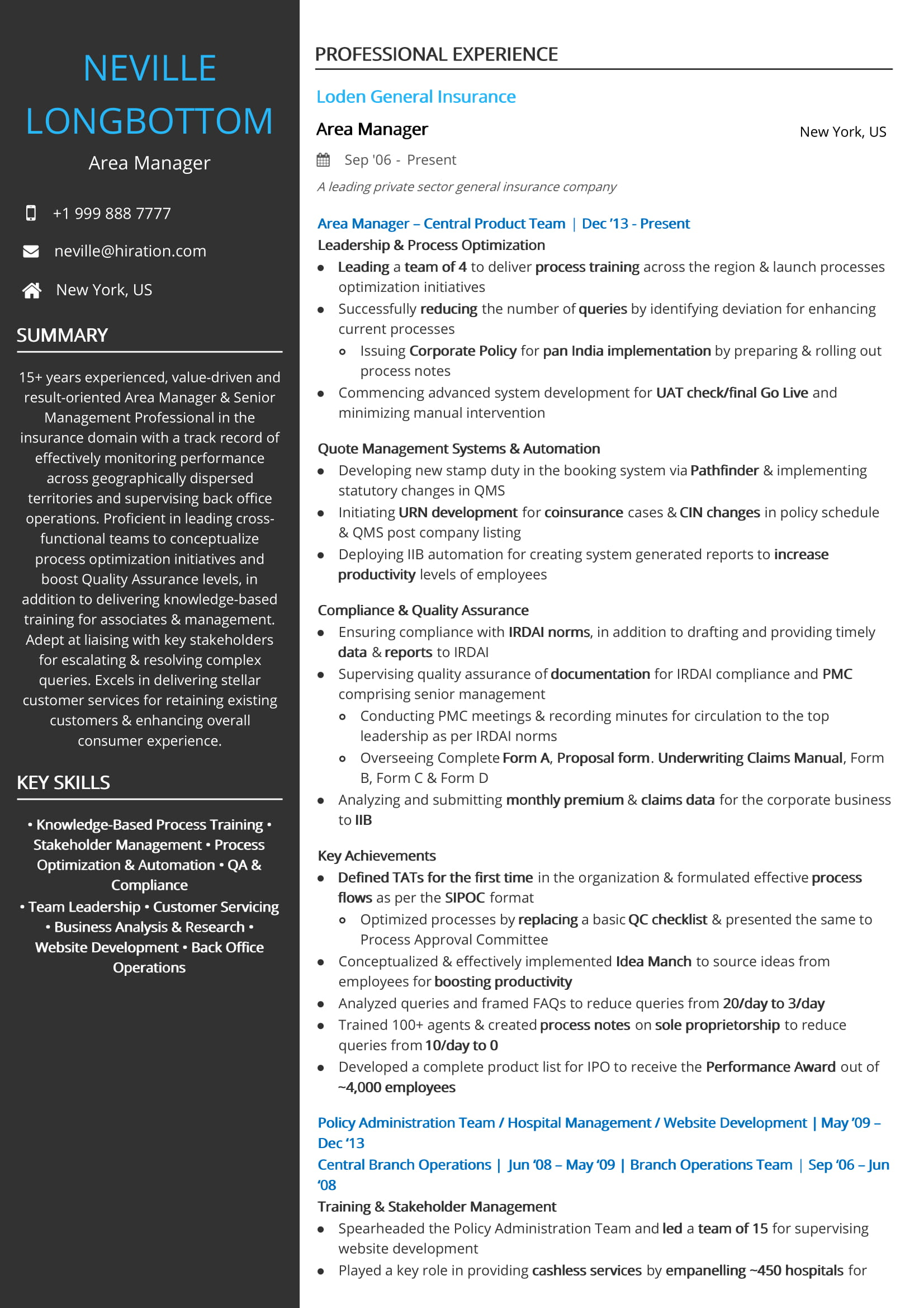 Area Manager - Insurance Resume Sample
