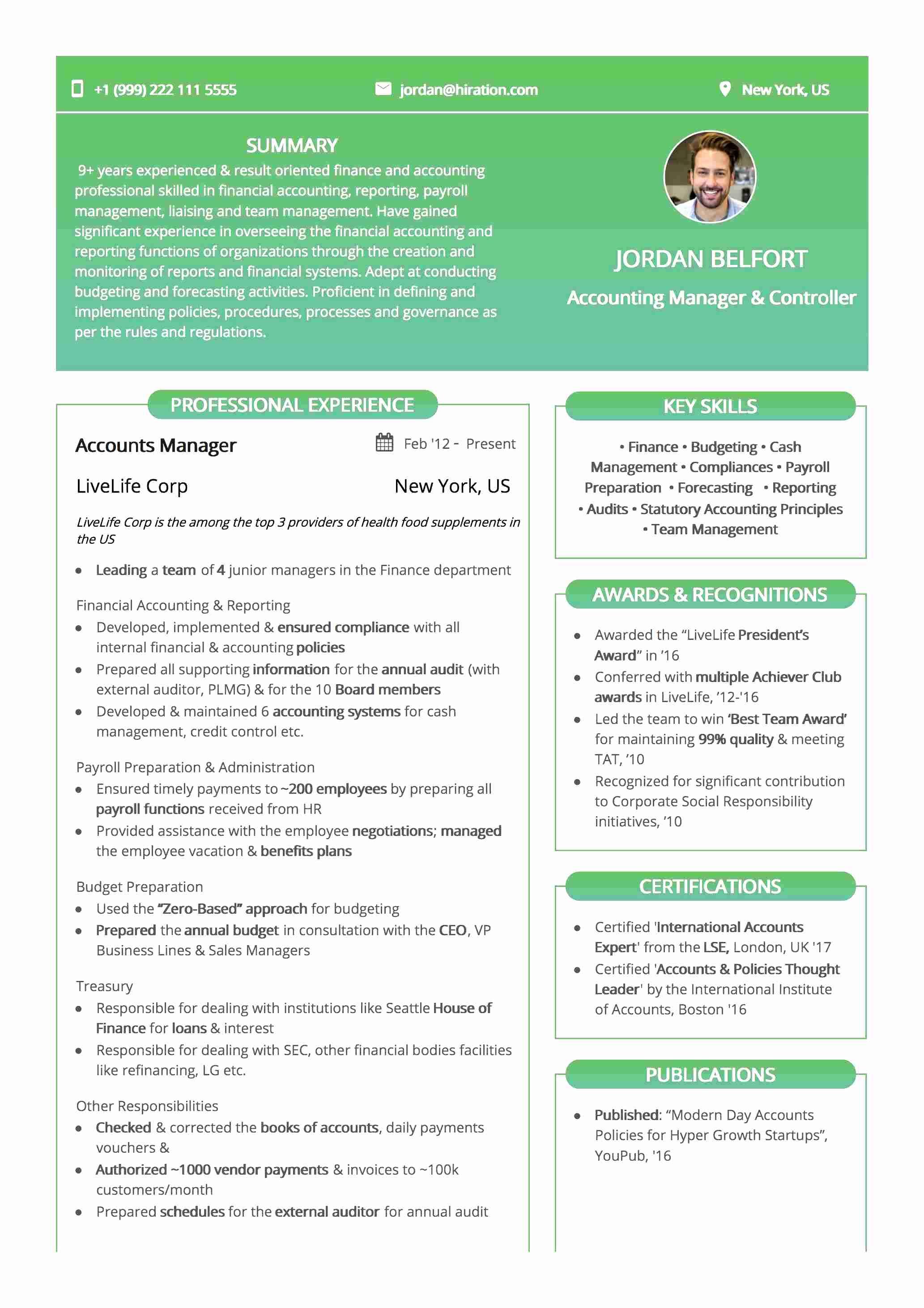 Resume Template: Gradient Green