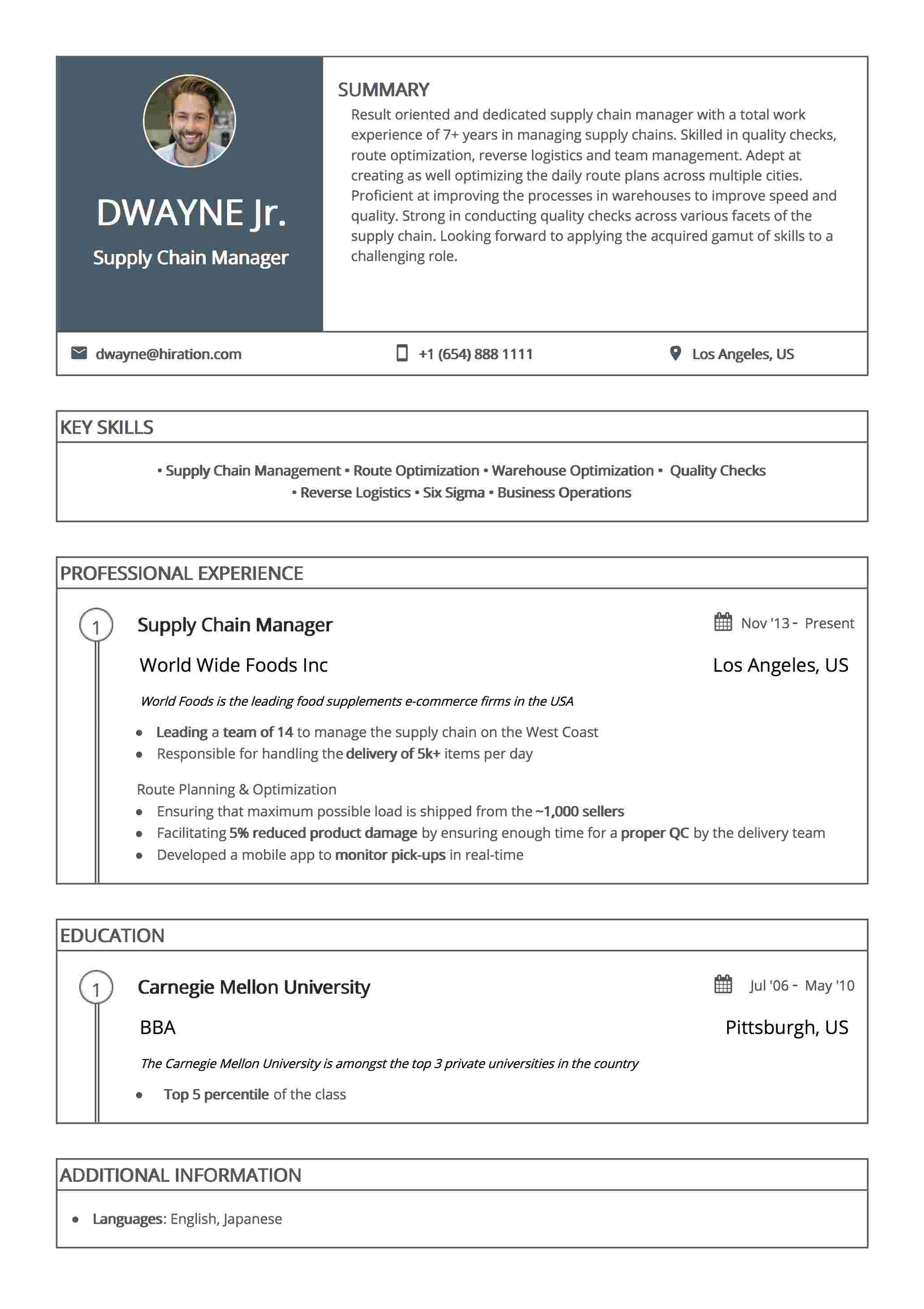 Resume Template: New York