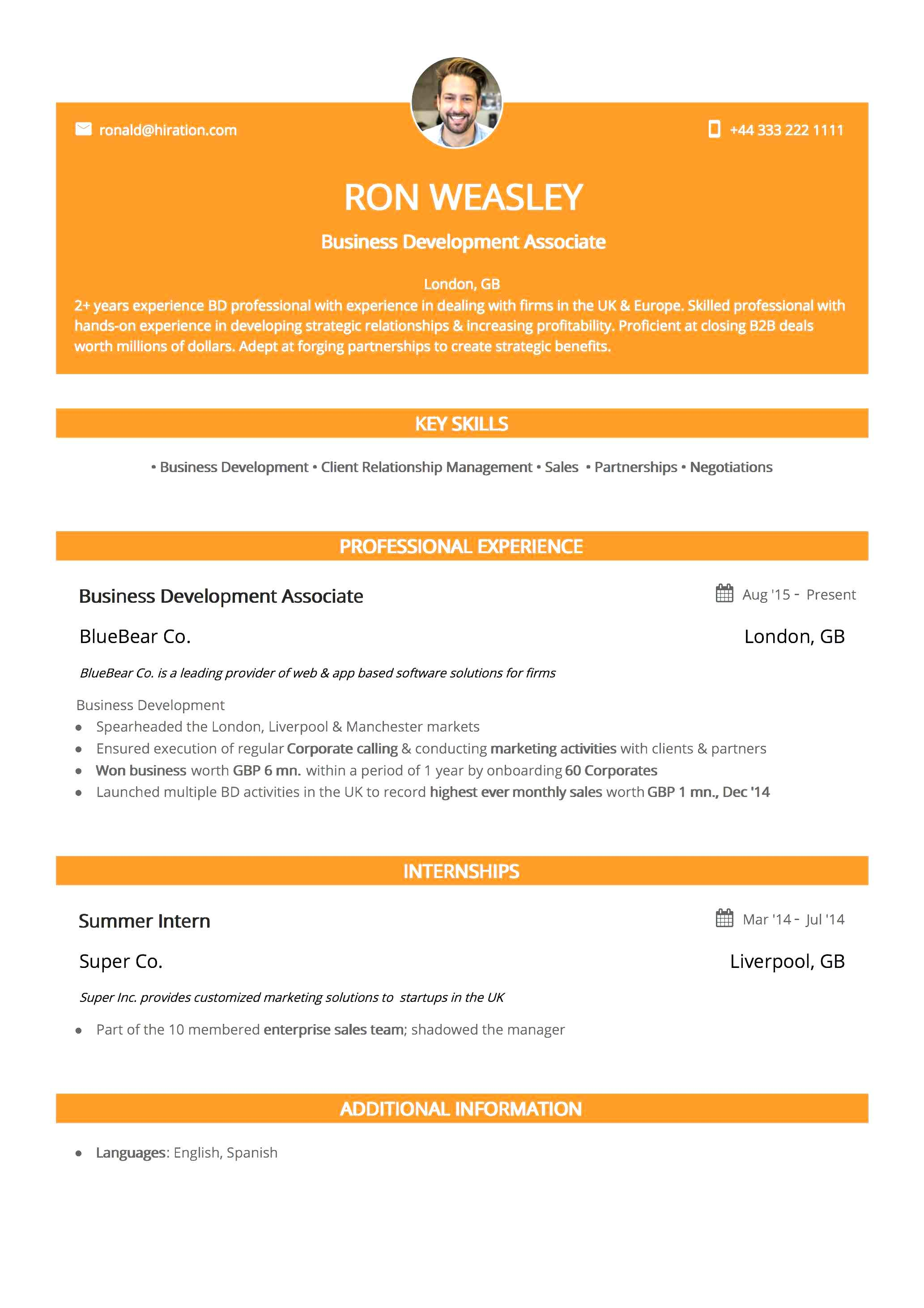 Resume Template: Orange Twist