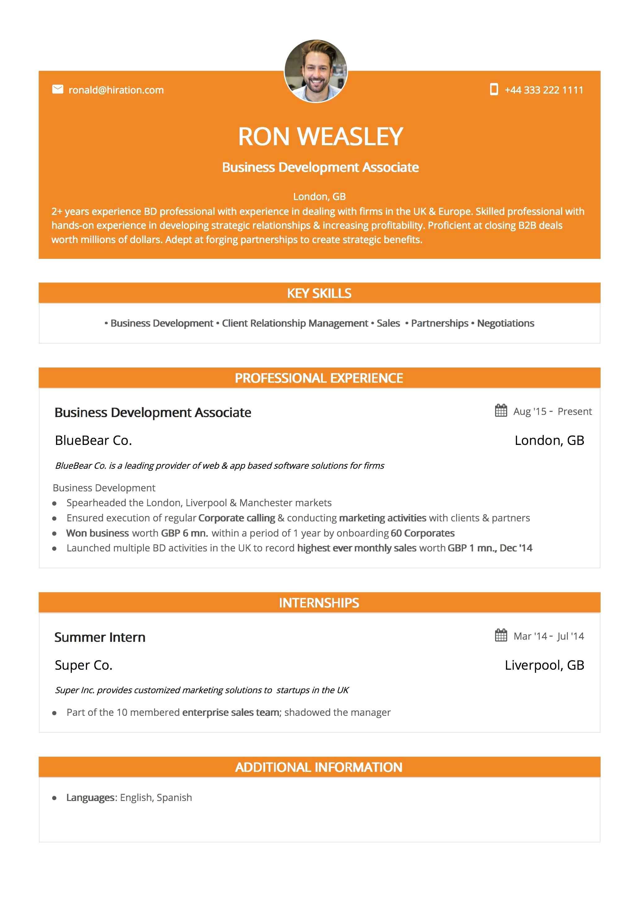 Resume Template: Orange Twist