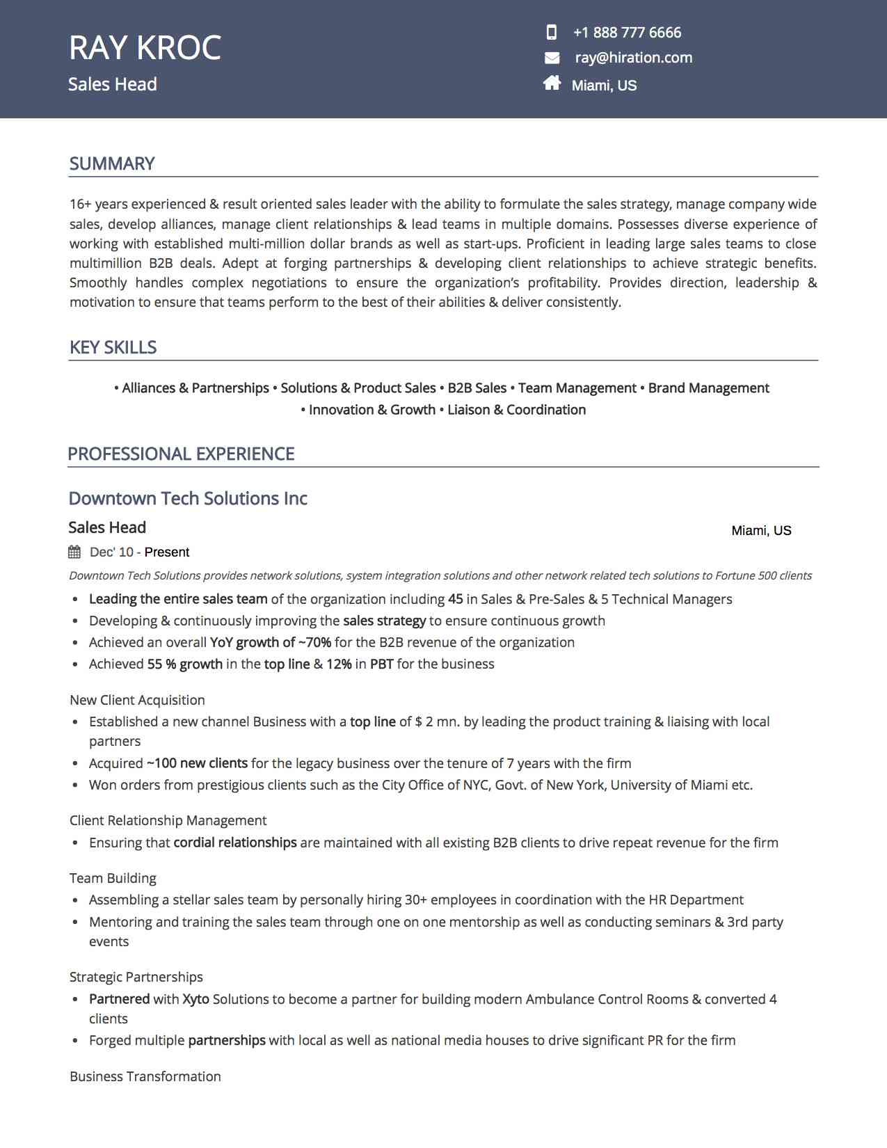 Royal Blue Resume Template