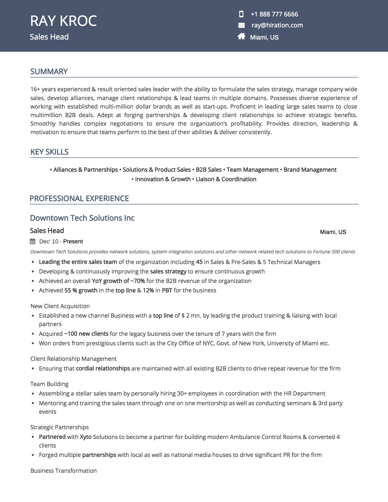 Royal Blue Resume Template