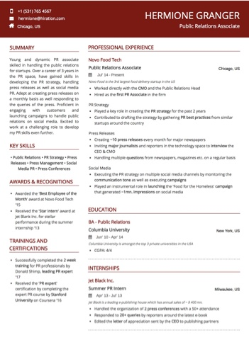 Public Relations Associate PR Resume Sample