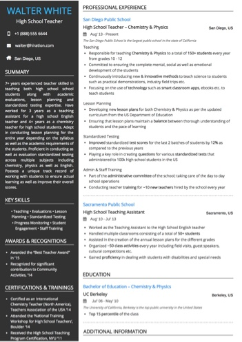 High School Teacher Resume Sample