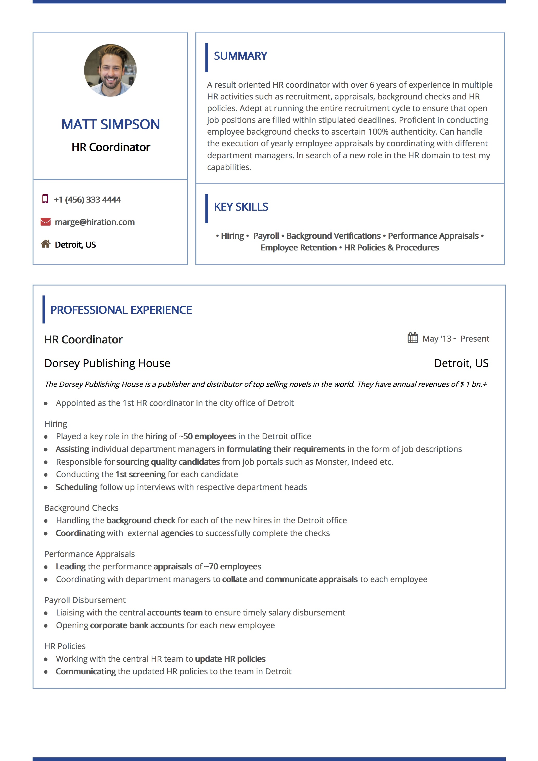 Boxed Navy Resume Template