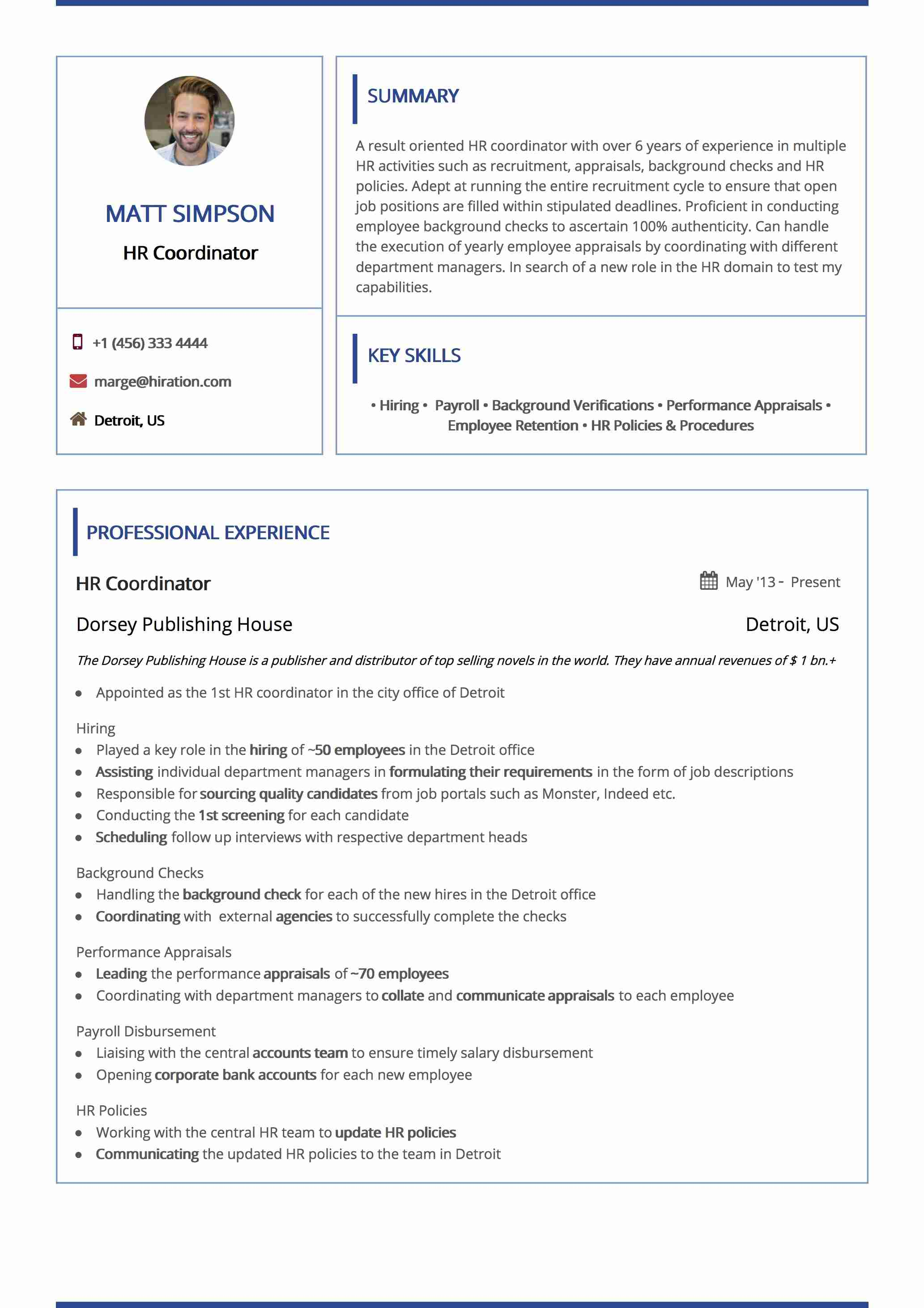 Resume Template: Boxed Navy