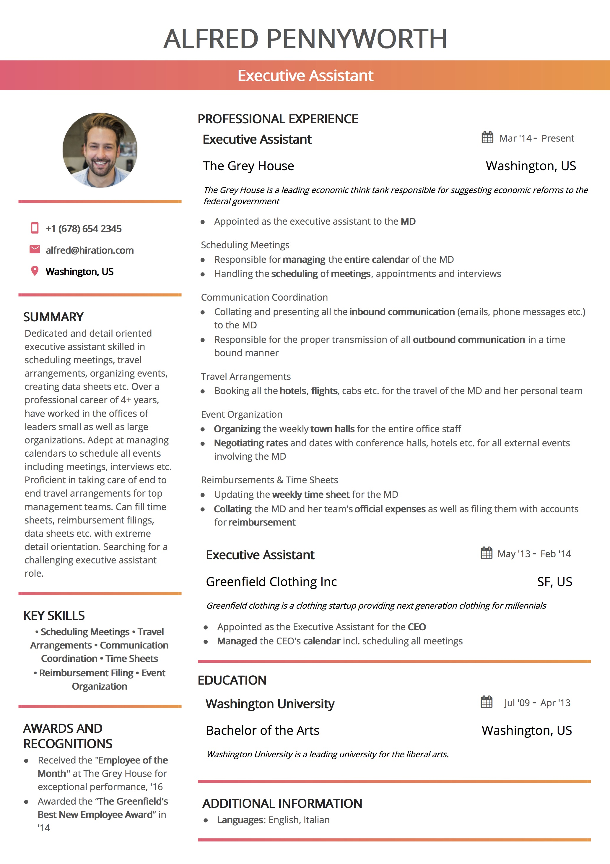 Resume Template: California