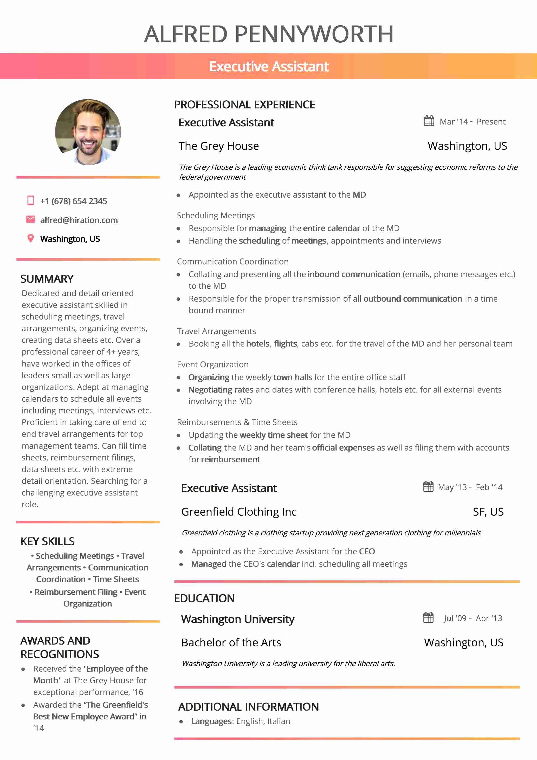 Resume Template: California