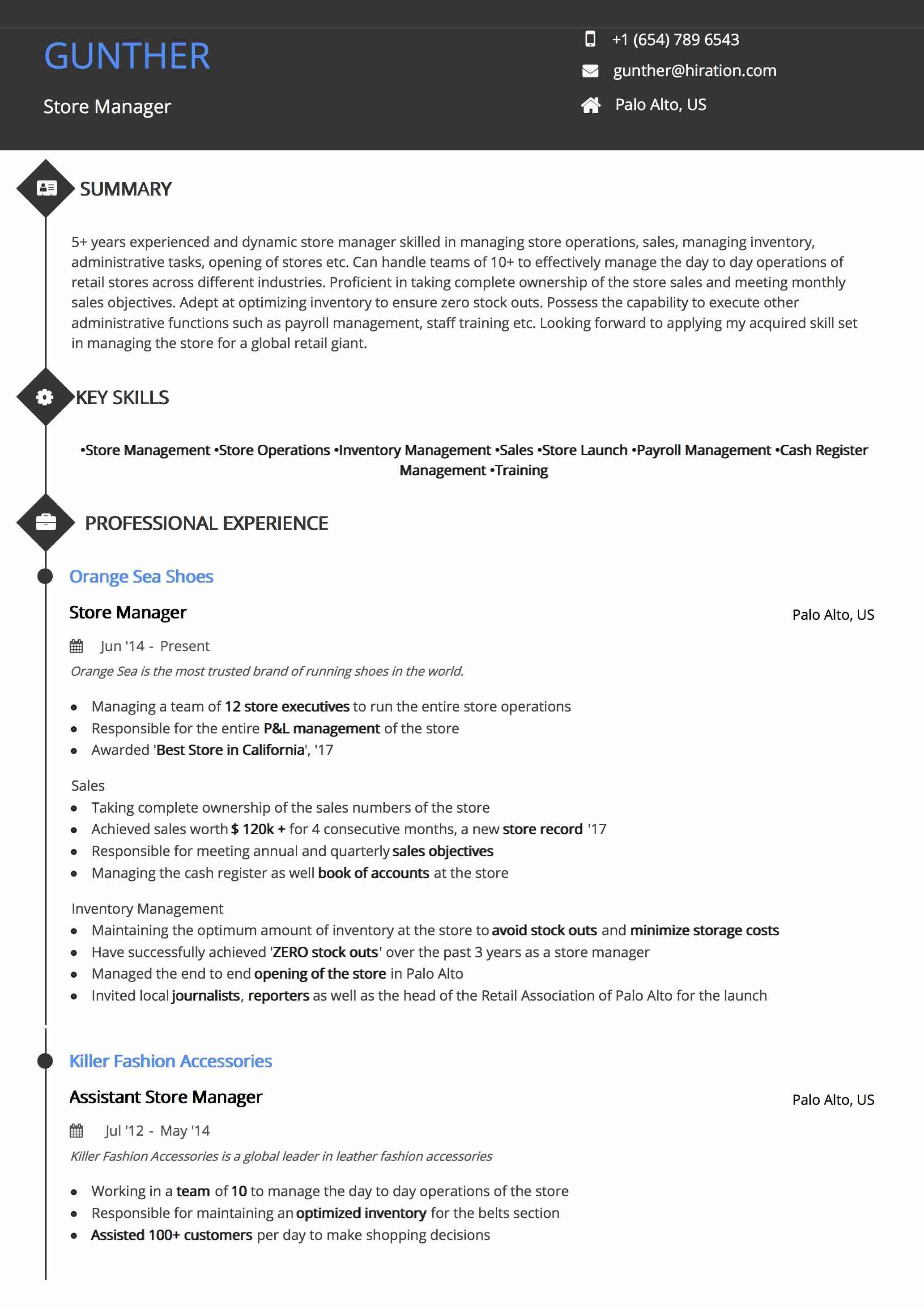 Resume Template: Diamond Timeline