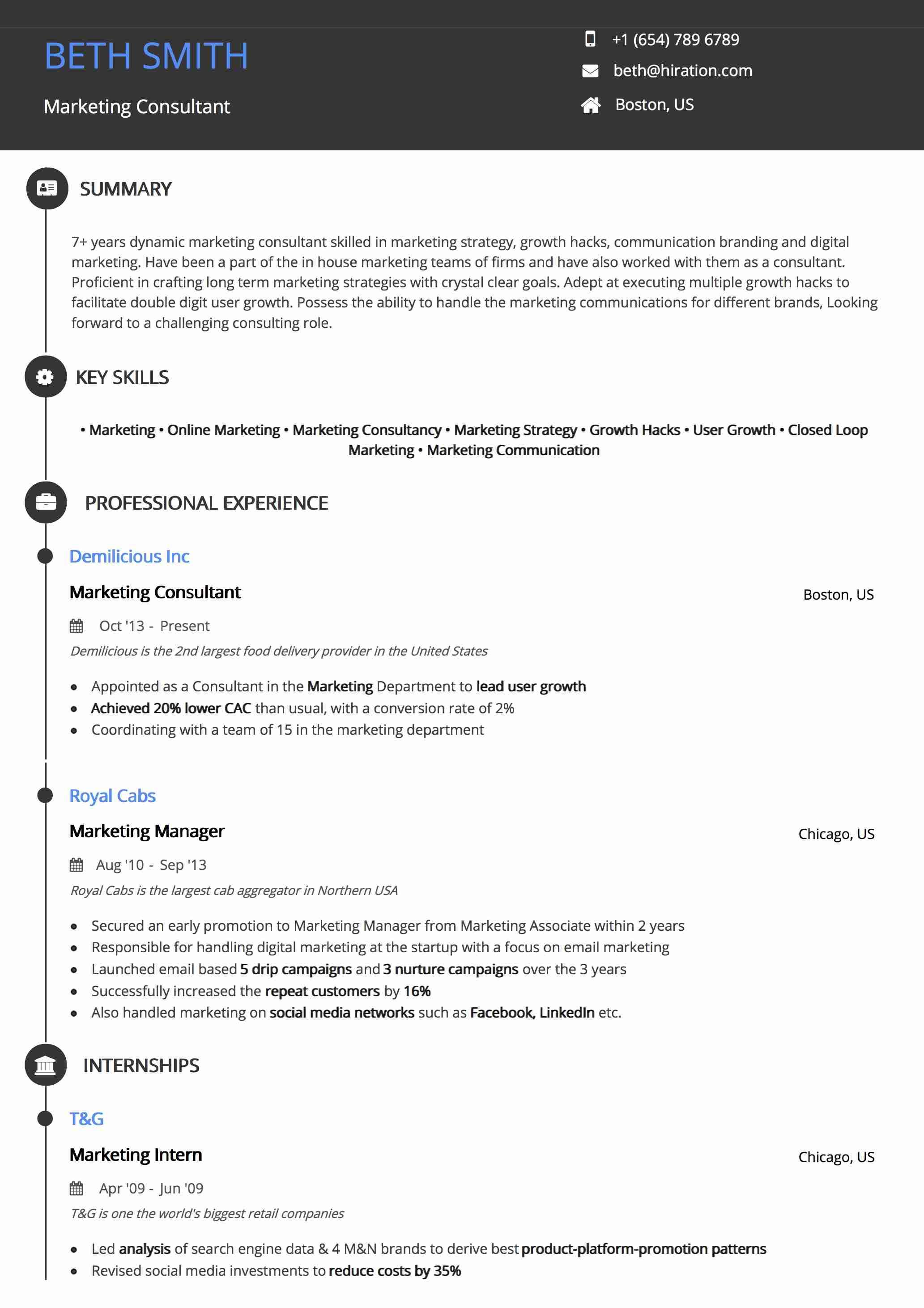 Resume Template: Round Timeline