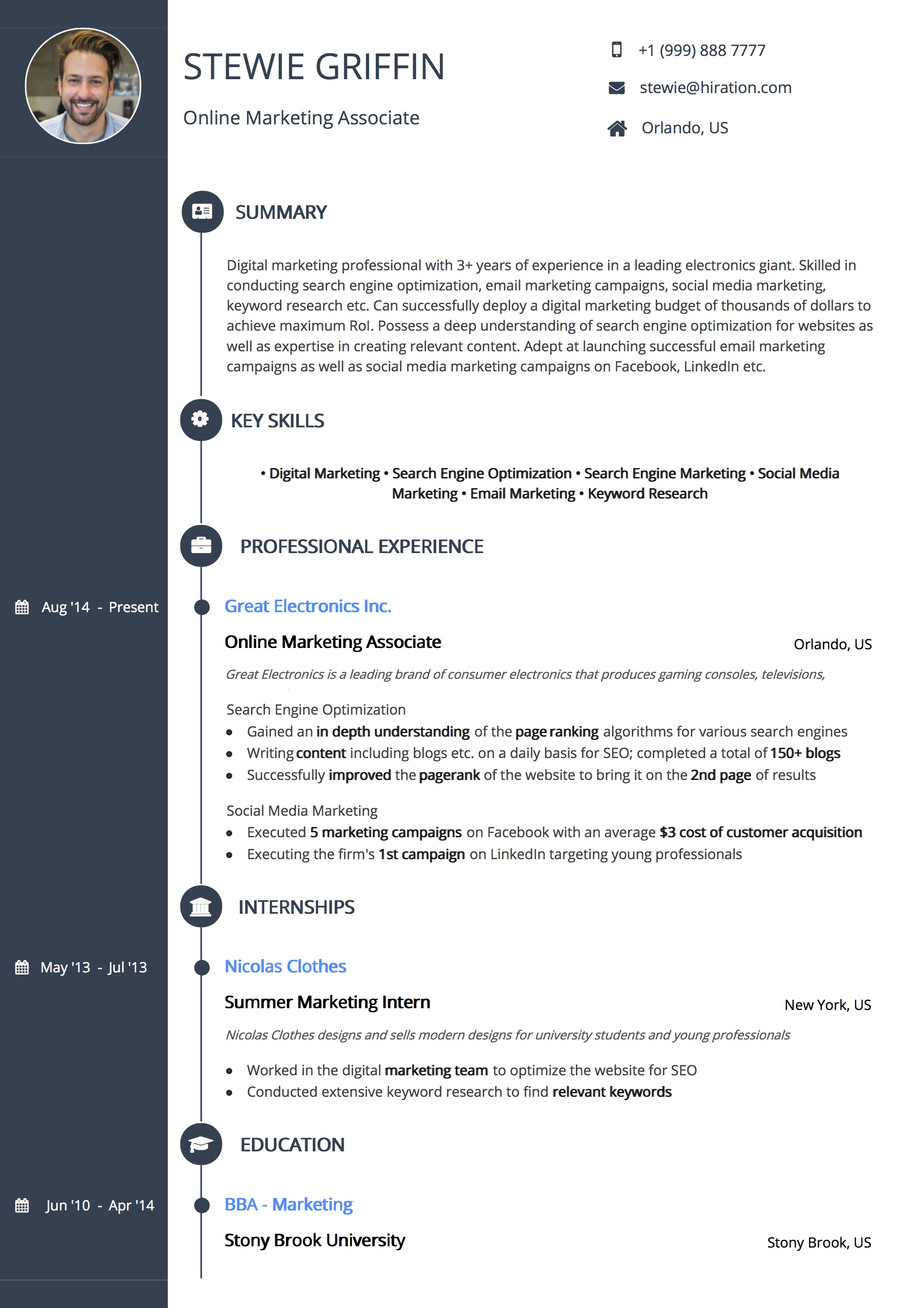 Resume Template: Signature Timeline