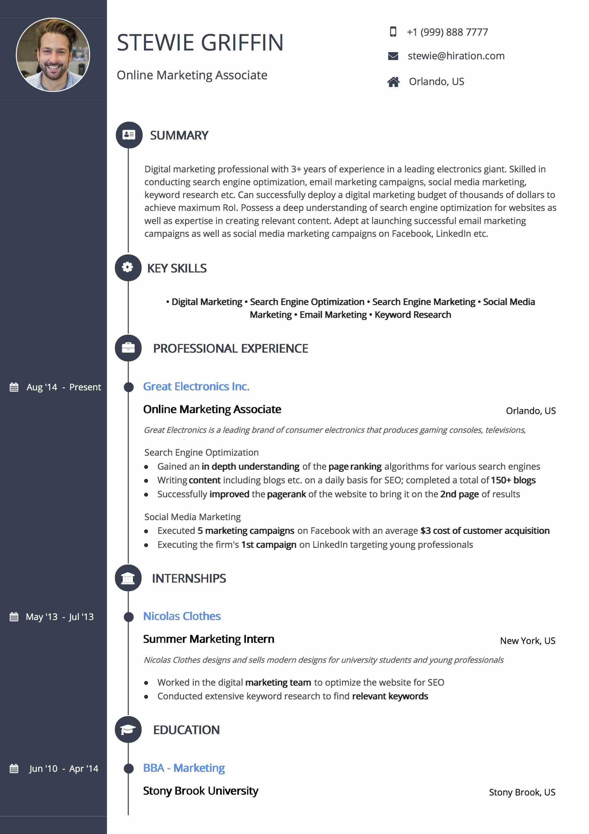 Resume Template: Signature Timeline