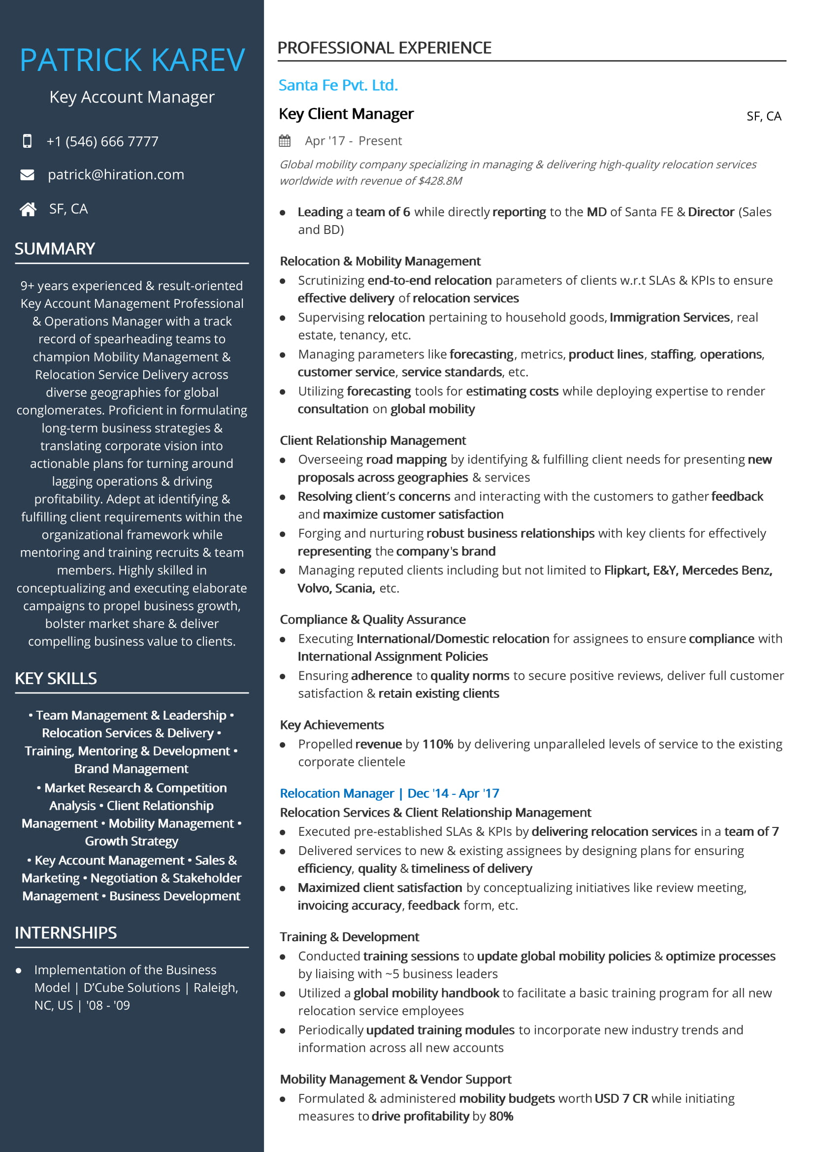 Key Account Manager Resume Sample