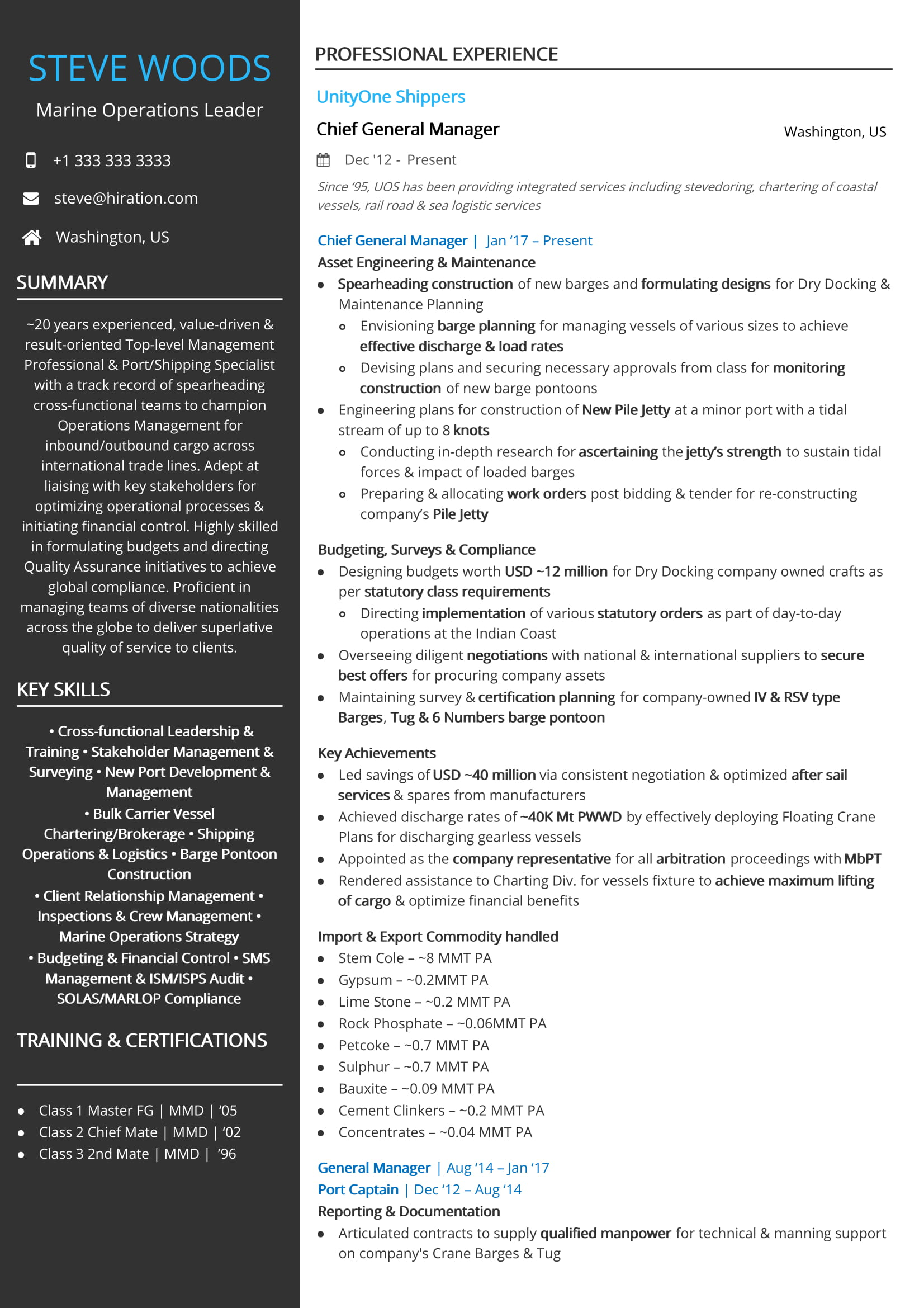 Marine Operations Leader Resume Sample By Hiration