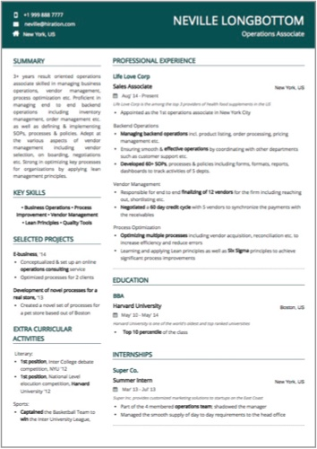 operations associate resume sample by hiration