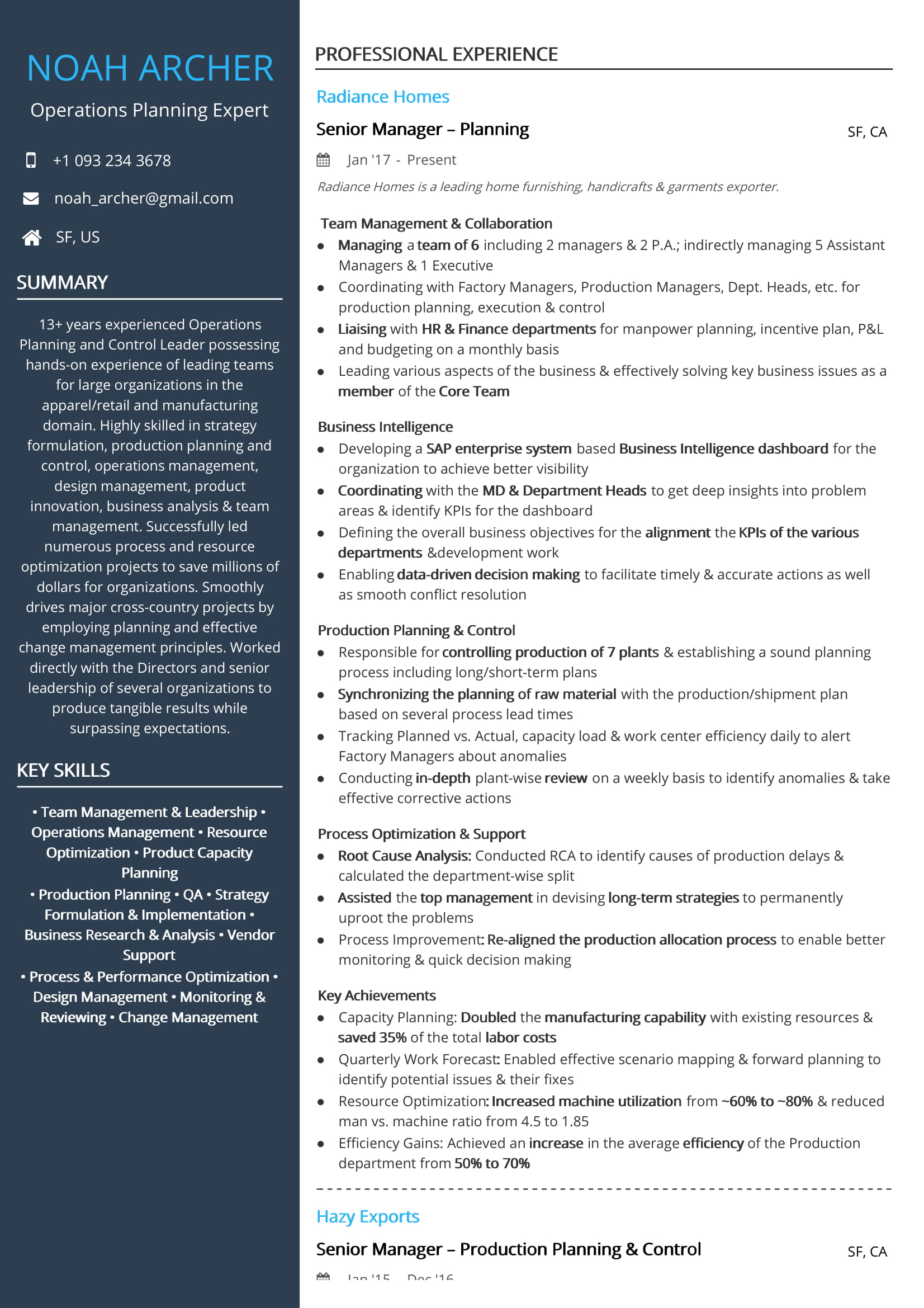 Operations Planning Expert Resume Sample by Hiration