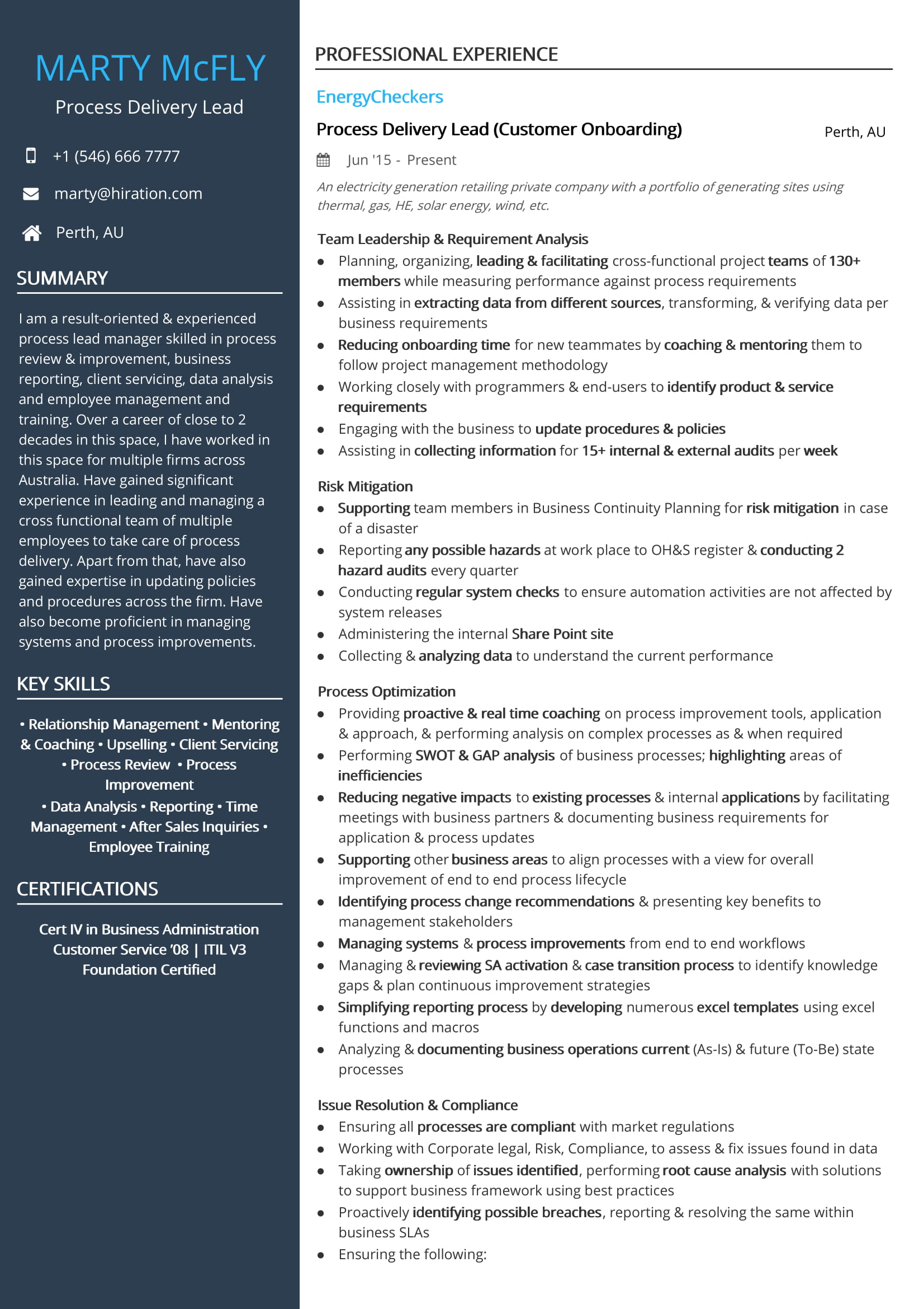 Process Delivery Lead Resume Sample