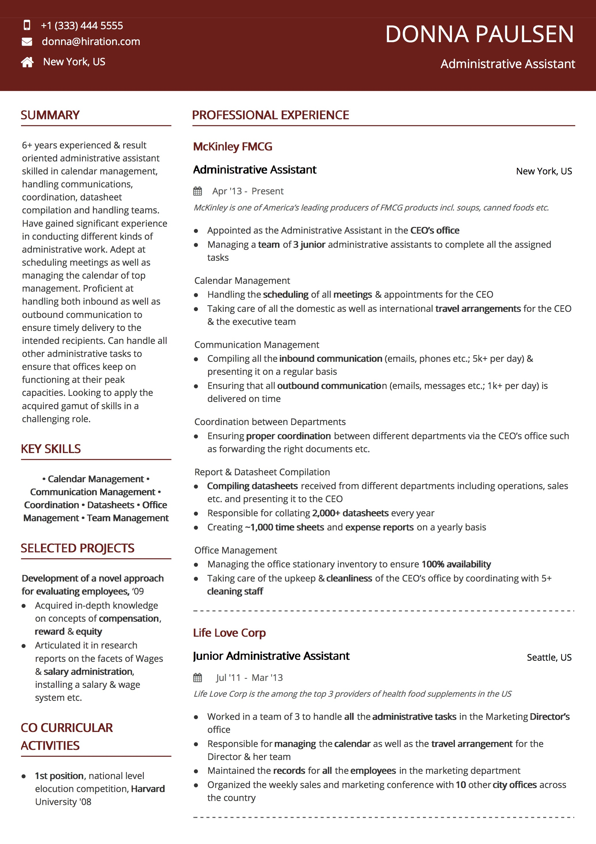 Resume Template: Global Citizen Red