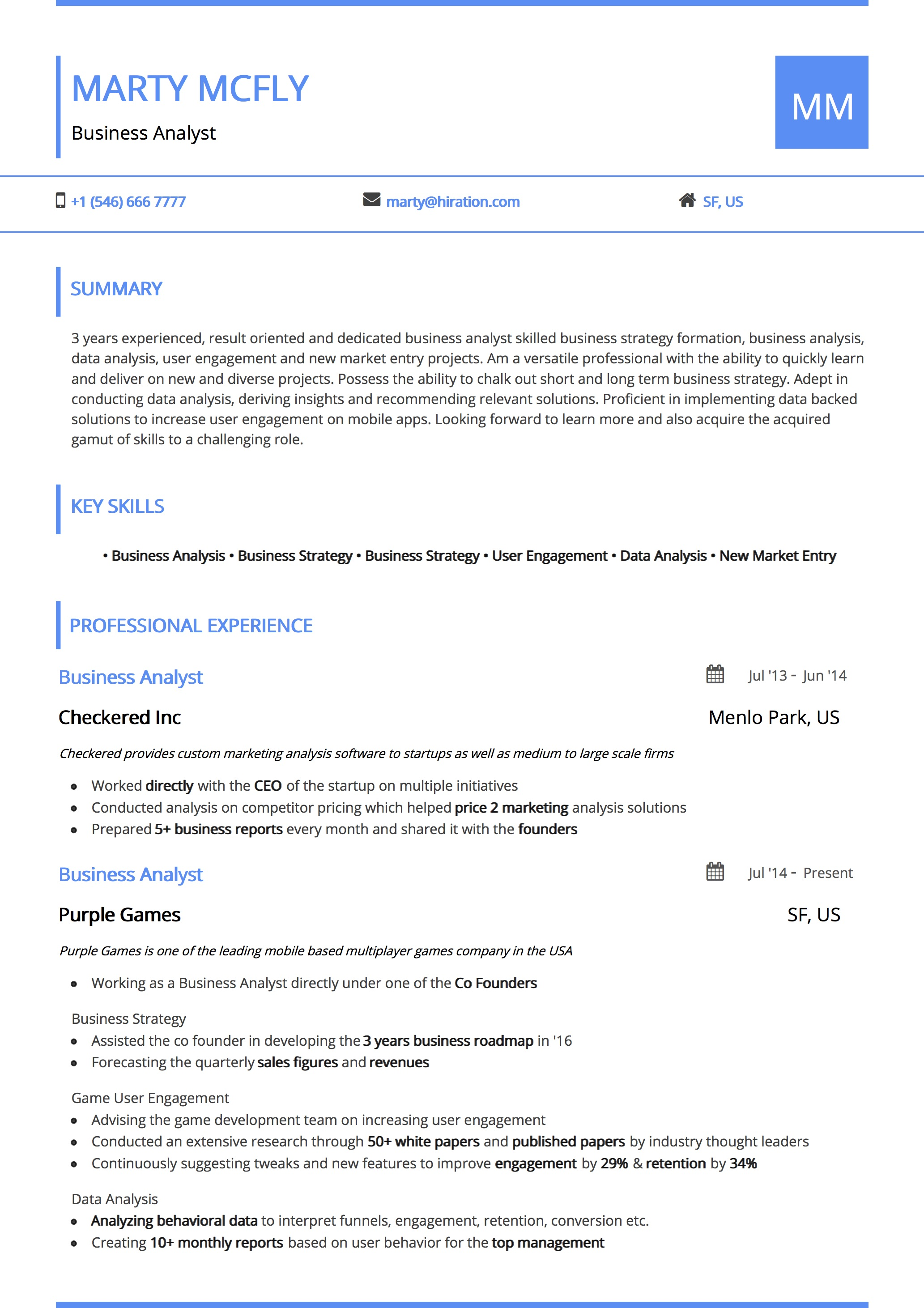 Resume Template: Material Color