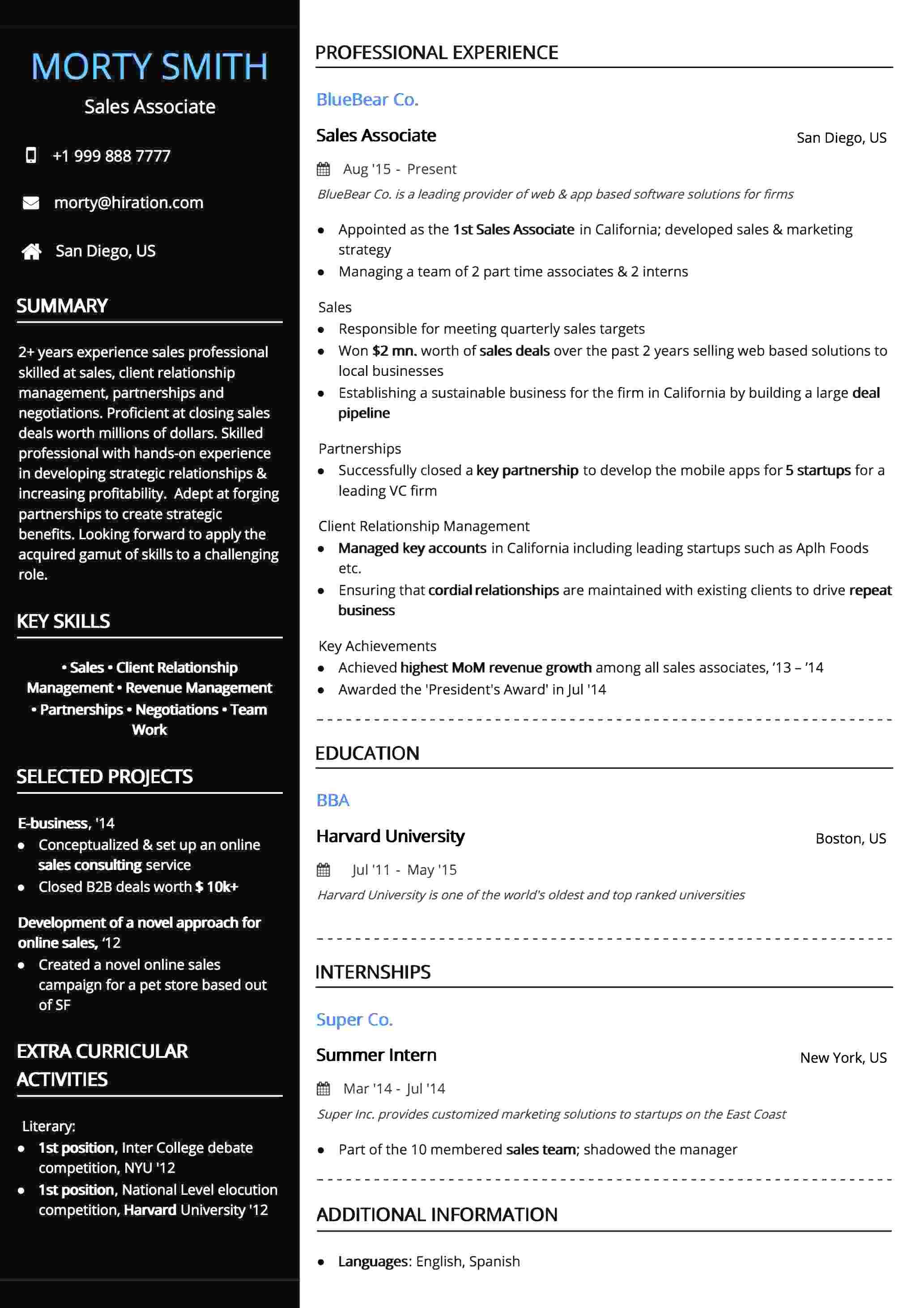 Professional Black Resume Template