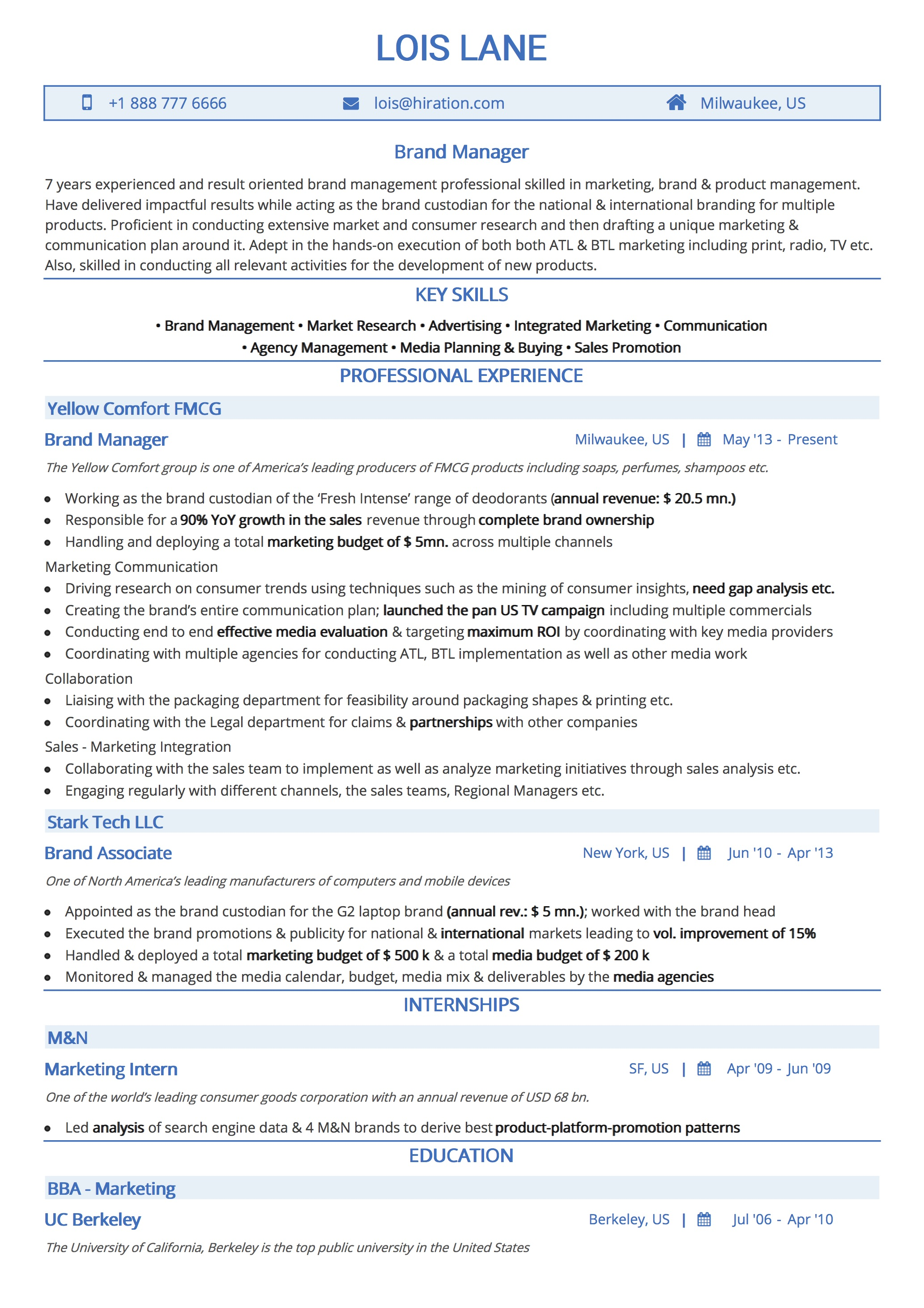 Traditional Blue Resume Template