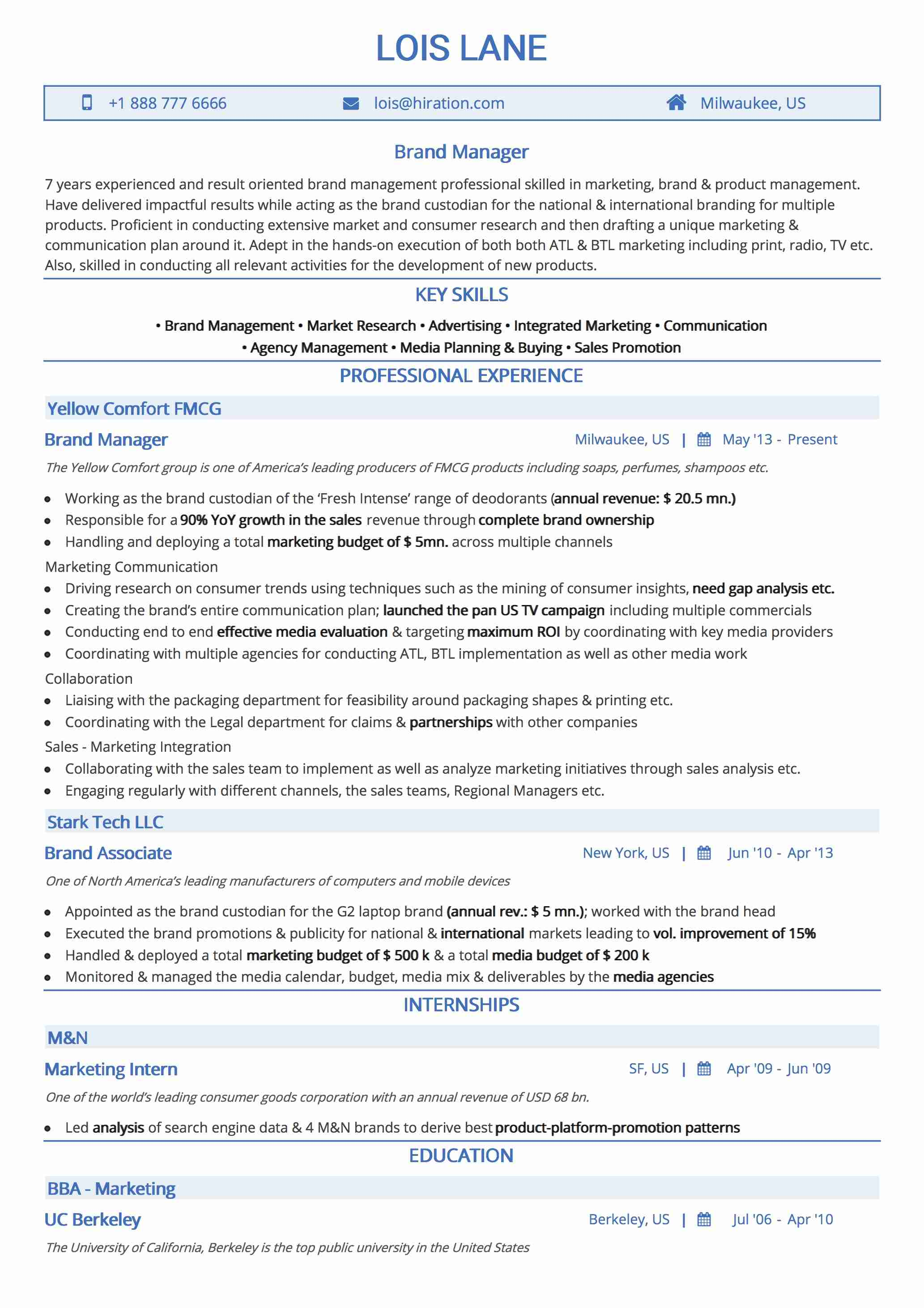 Resume Template: Traditional Blue