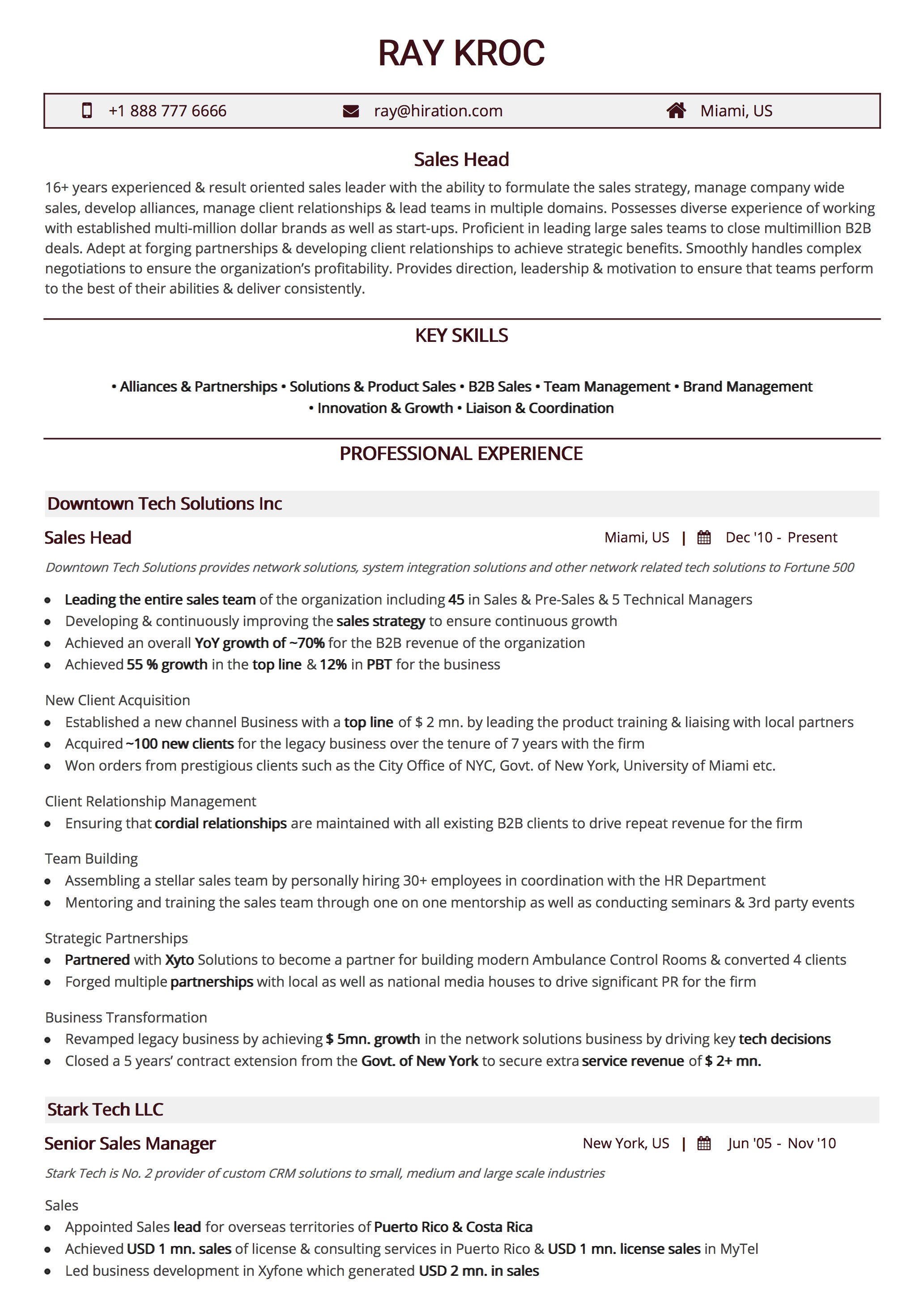 Resume Template Traditional Maroon By Hiration
