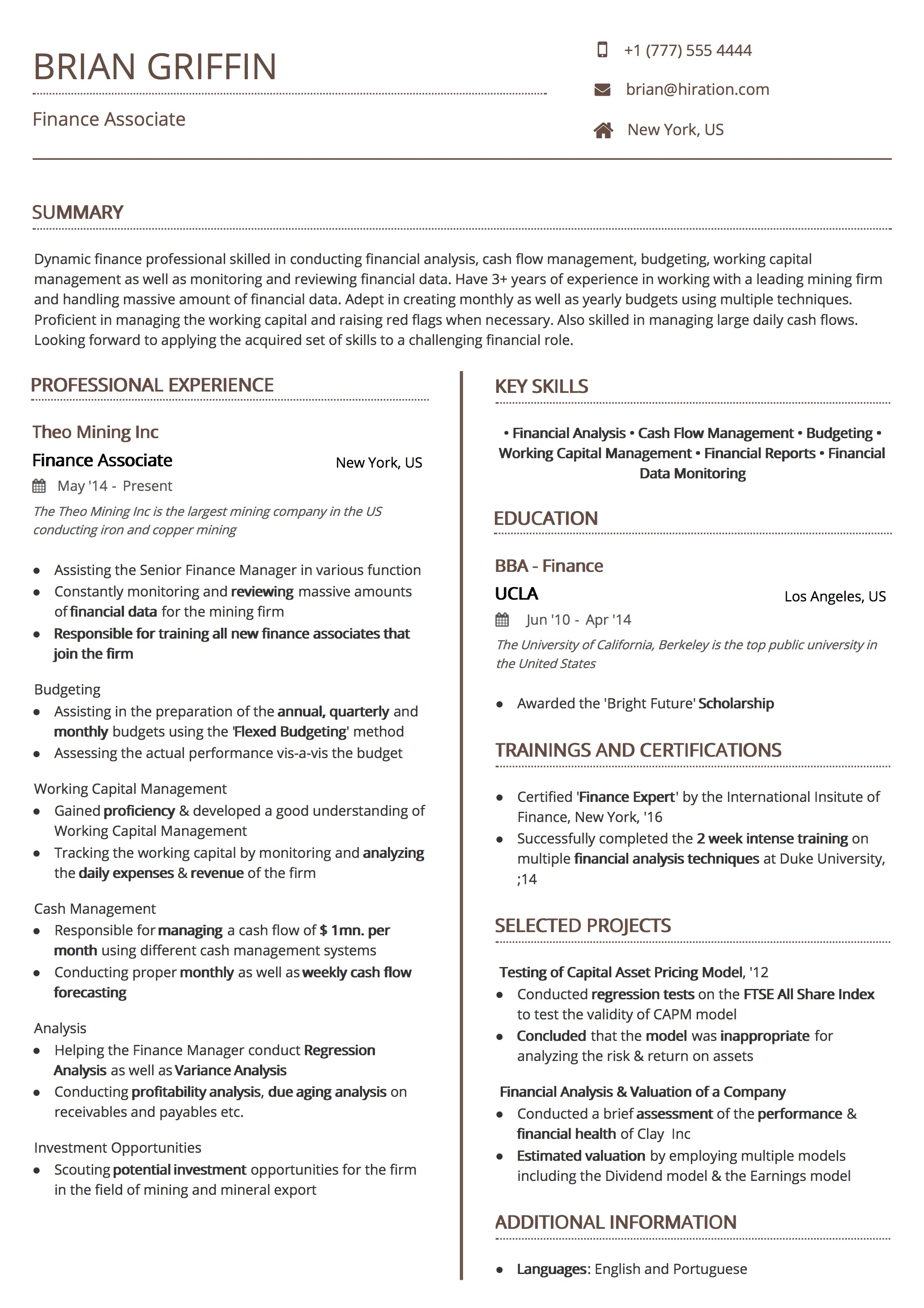 Resume Template: Uniform Brown