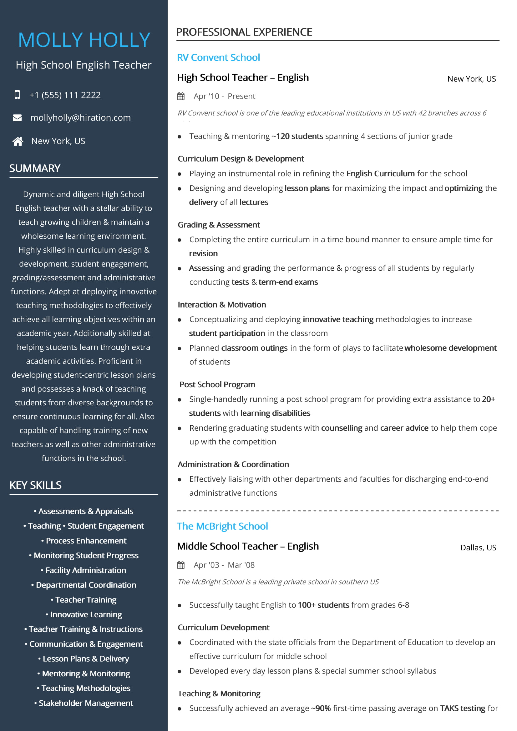 Free High School English Teacher Resume Sample 2020 By Hiration