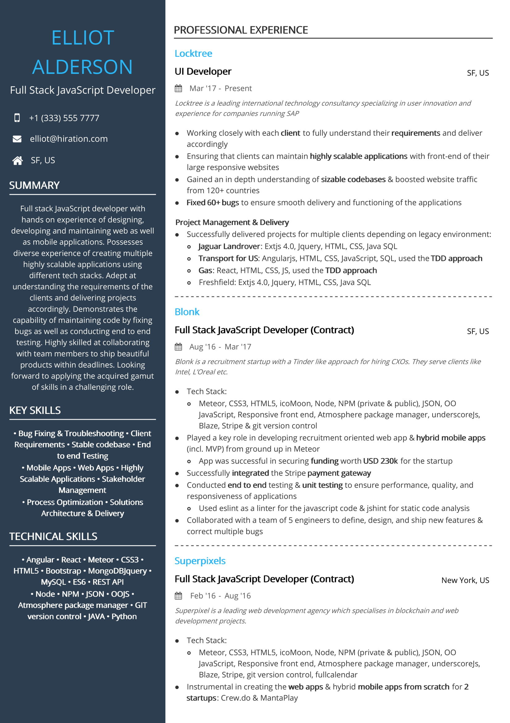 Full Stack Javascript Developer Resume Sample By Hiration
