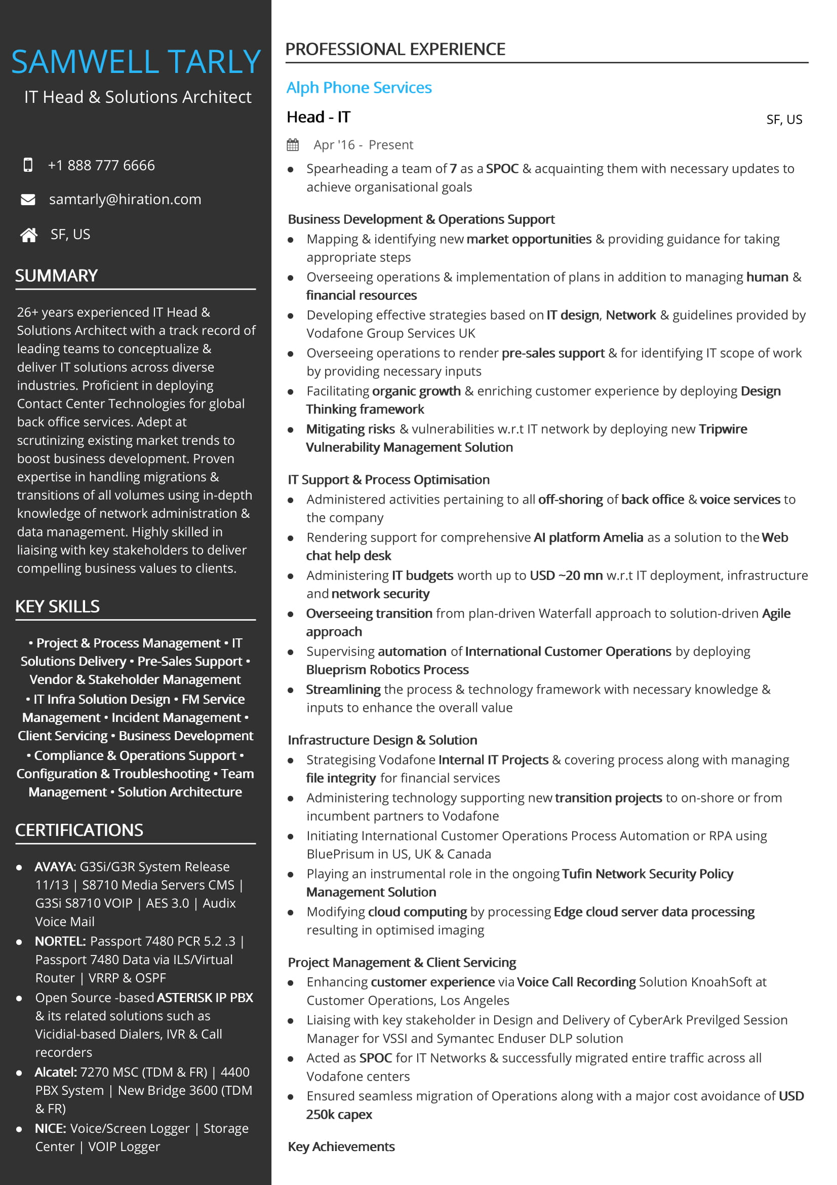 It Head Solutions Architect Resume Sample By Hiration
