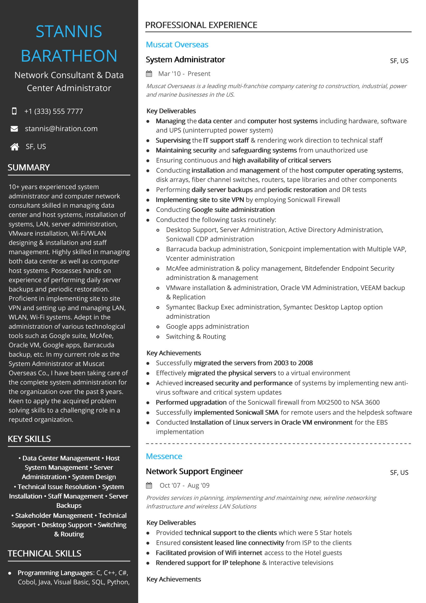 network consultant resume sample by hiration