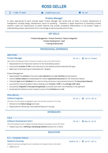 Product Manager Resume Sample by Hiration