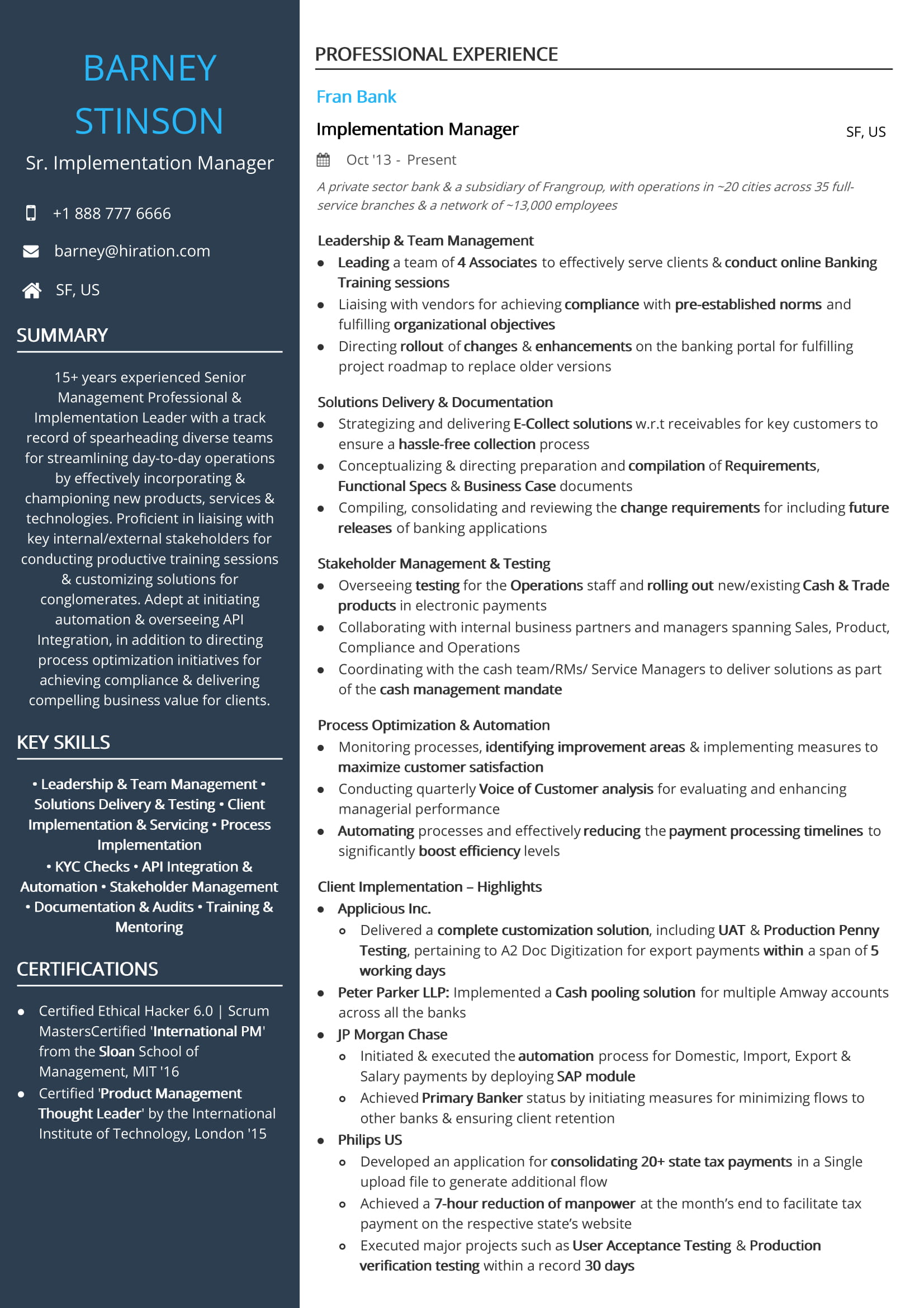 Senior Implementation Manager Resume Sample By Hiration